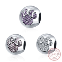 AZIZ BEKKAOUI Crystal Beads Fit Pandora Bracelet Authentic 925 Sterling Silver Paved Zirconia Ruby CZ Minnie
