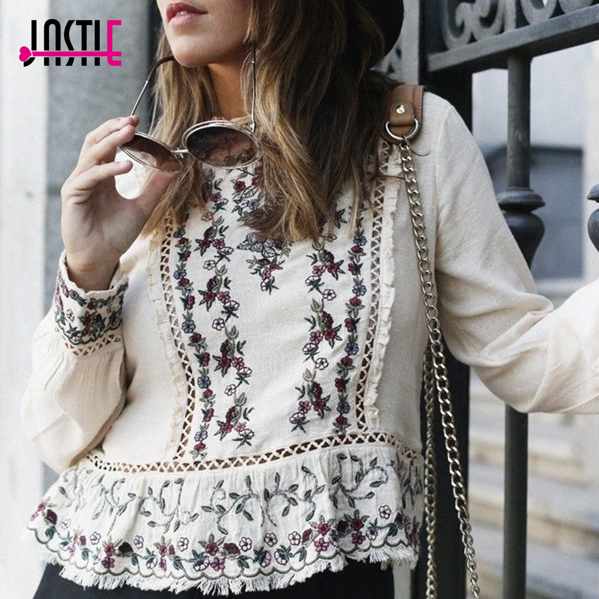 Jastie Floral Embroidered Women Blouse Ruffle Lace Chic O-Neck Long Sleeve Shirt Tops Unfinished Edges Hippie Boho Top Pullover