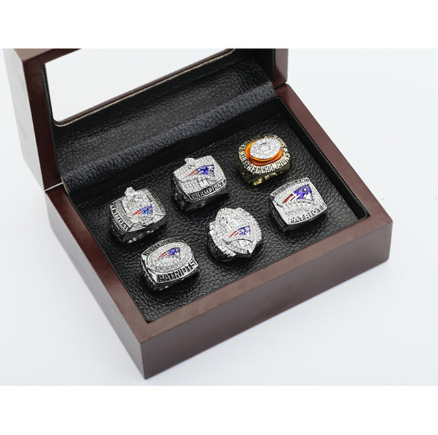 Gorgeous Ring sets with Wooden Boxes Replica Super Bowl Copper High Quality 6pcs/Packs New England Patriots Championship Ring