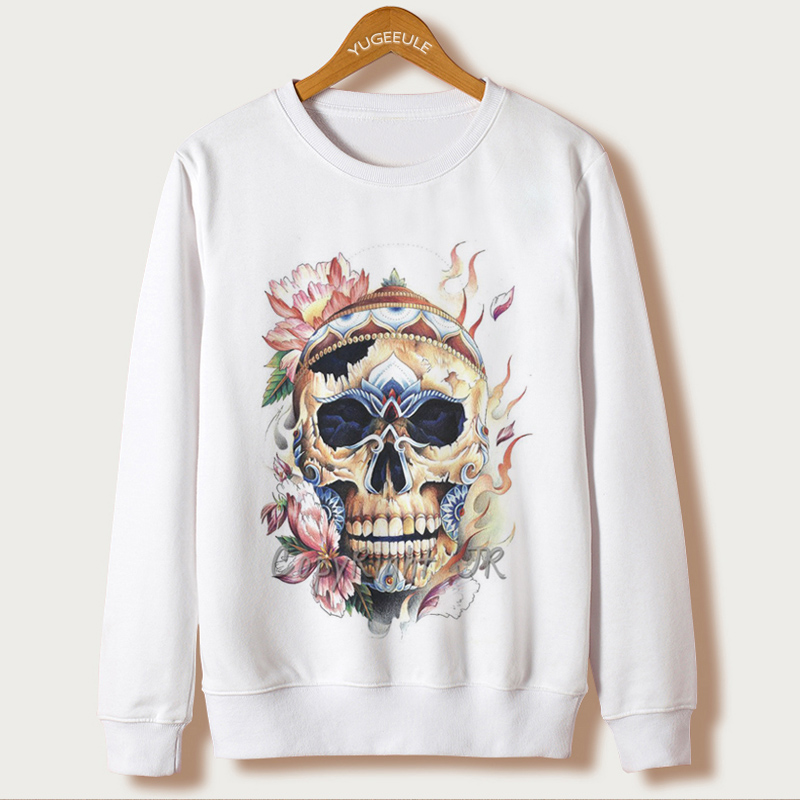 New Rushed O-neck Full Harajuku Sweatshirt Sudaderas Mujer 2017 Autumn Casual Hoodies Women Polerones Skull Print Sleeve Hooded