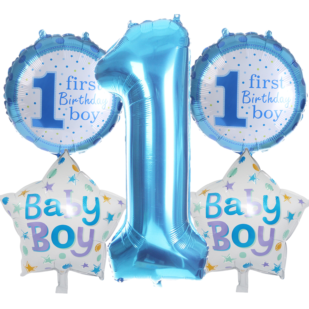 1 first birthday boy girl inflatable foil balloons decor for kids one birthday Y