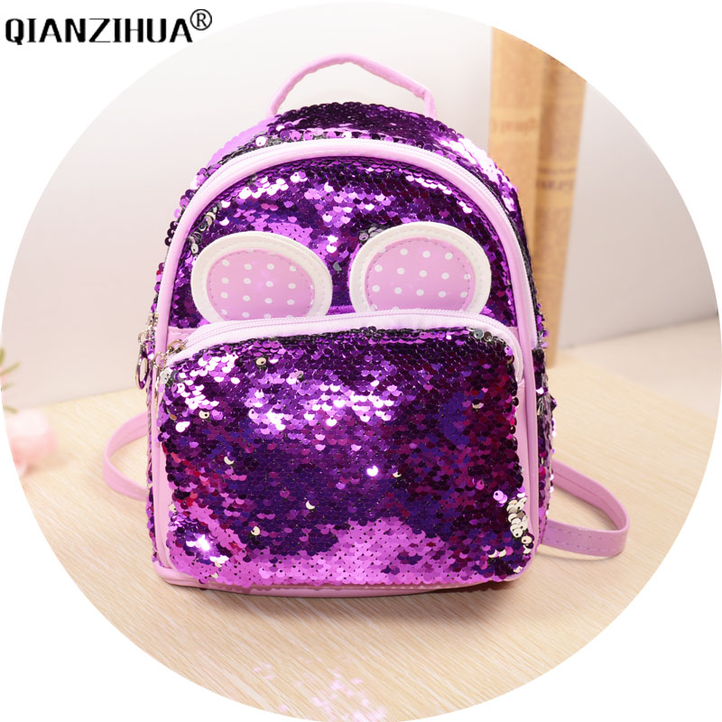 Women Fashion Bags Soft PU backpack cartoon Cute ear schoolbags for teenager girls Sequins backpacks back pack цены