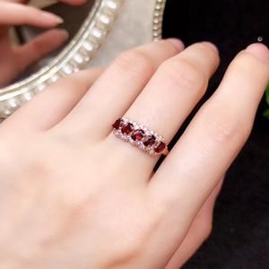 Image 2 - CoLife Jewelry anillo granate de plata 925 para niña, 5 piezas, anillo plata granate Natural VVS, joyería de granate de plata, regalo de cumpleaños