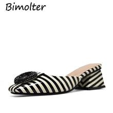 купить Bimolter Women Patent Leather Slippers Square Heel Fashion Summer Slip-On Comfort Slippers Lady Women Casual Shoes Woman NC058 по цене 3914.23 рублей