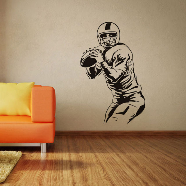 Rugby Player Vinyl Wall Stickers Removable Waterproof  Silhouette Poster Wall Decals Livingroom Home Decor For Teens room SA019B