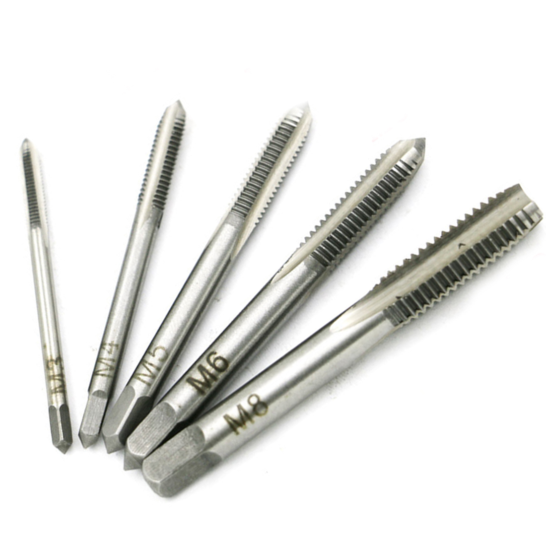 5PCS/Set HSS M3 M4 M5 M6 M8 Machine Spiral Point Straight Fluted Screw Thread Metric Plug Hand Tap Drill Set Hand Tools 4pcs set hand tap hex shank hss screw spiral point thread metric plug drill bits m3 m4 m5 m6 hand tools