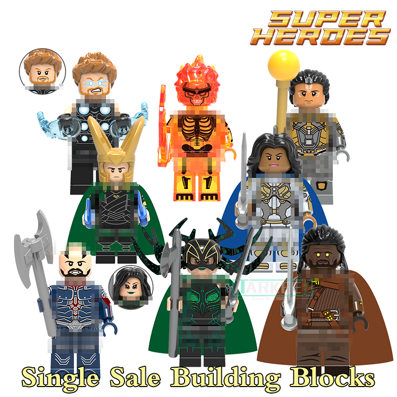 Single Sale Building Blocks Thor Loki Topaz Hela Super Heroes Model Toys Hobbies Children Gifts Bricks Marvel DIY Figures X0185 single building blocks kits ninja pythor kozu lloyd zane nya figures super heroes star wars model bricks kids toys hobbies x0143
