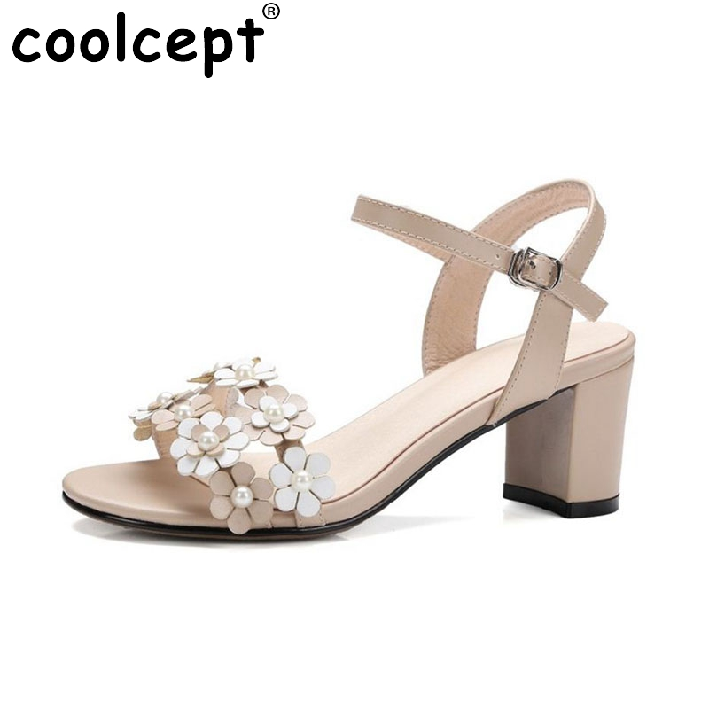 Coolcept Size 32-43 Elegant Women Real Genuine Leather High Heel Sandals Flower Beading Thick Heel Sandals Summer Women Shoes aiykazysdl summer women sandals thick