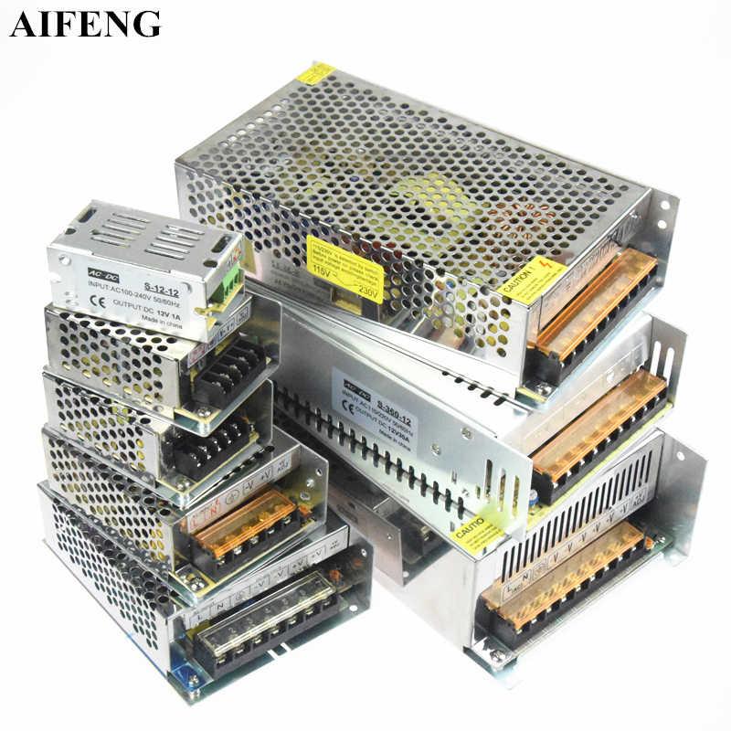 Aifeng трансформатор освещения 110 V 220 V к DC 12 В светодио дный водителем переключатель Питание адаптер 1A 2A 3A 5A 10A 20A 30A 50A для светодио дный полосы