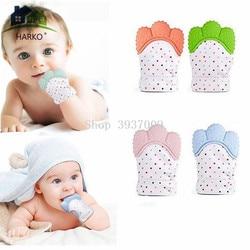 Luva de Silicone Dentição do bebê Doces Wrapper Som Presentes Brinquedo Mordedores Mordedor Enfermagem Neonatal 1PCS