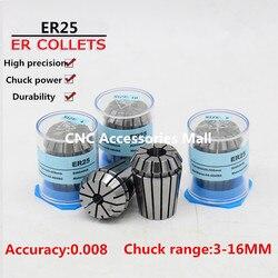 17 sztuk ER25 wysoka precyzja 0.008mm tuleja sprężynowa uchwyt do frezowania CNC