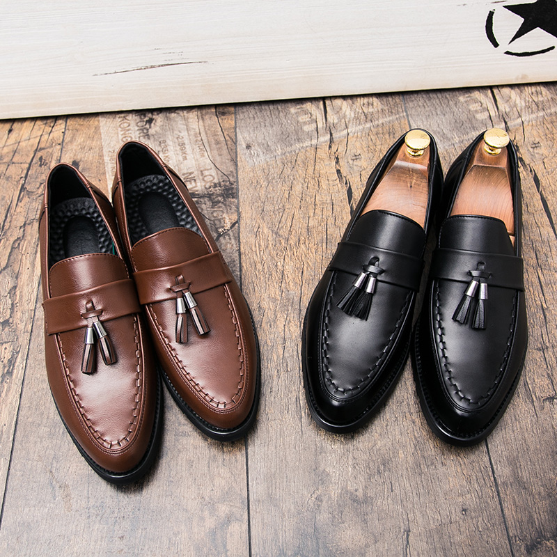 mens slip on tassel formal leather dress shoes luxury brand pointed toe ballet flats male italian elegant business oxford shoes  (34)