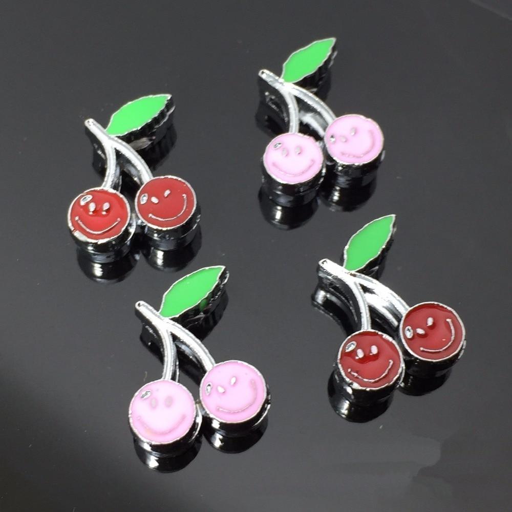 50PCS 8mm Alloy Cute Smile Cherry Slide Charms Slide Beads DIY 8mm Bracelets Wristbands,Belt Straps