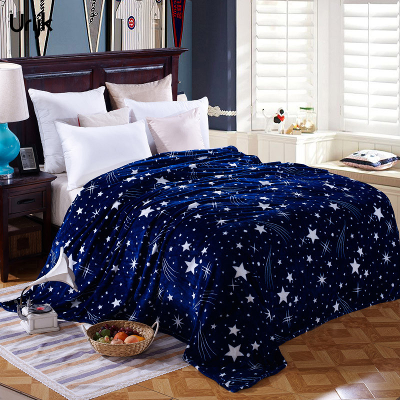 Urijk 1PC Warm Flannel Bedspreads Blanket Coral Fleece Fabric Plaid for sofa Bedroom Coverlets Throw Travel Soft Flannel Star