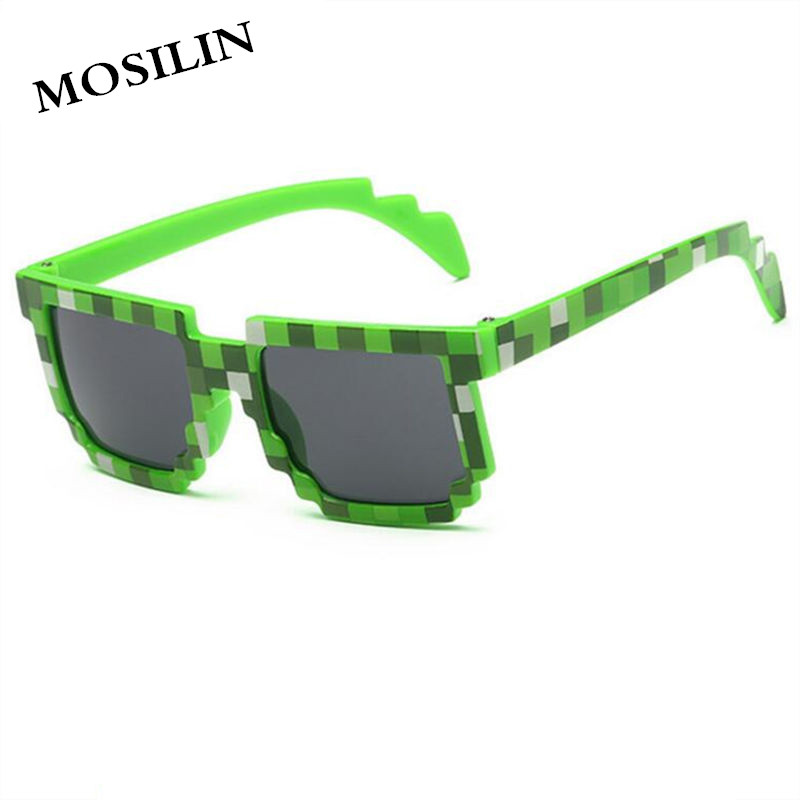 MOSILIN kids Pixel Sunglasses Plaid Square Baby Glasses Children Minecraft Sun Glasses deal with it boys Brand Designer Eyewear
