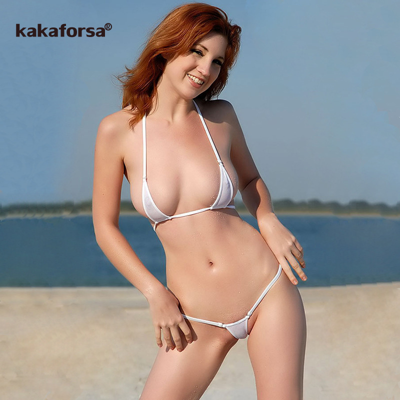 Kakaforsa Sexy Micro Mini Bikini Set Women Erotic Transparent Swimwear Bathing Suit Tiny G-String Thong Bikinis Beachwear