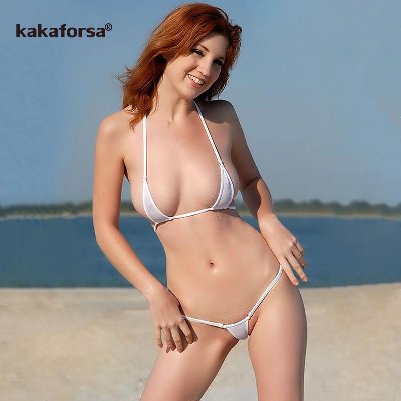 Kakaforsa Sexy Micro Mini Bikini Set Women Erotic Transparent Swimwear Bathing Suit Tiny G-String Thong Bikinis Beachwear