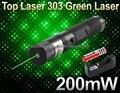 10 SET/LOTE Top Laser 200 mw 532nm 303 laser verde caneta ponteiro Queimadura de Cigarro com 18650 3000 Mah bateria e carregador