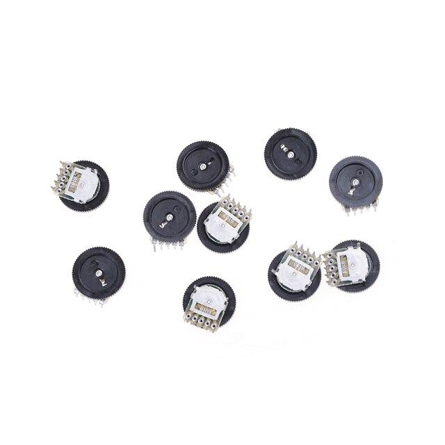 10 pièces Roue Duplex Potentiomètre B103 16X2mm 10 K Ohm Double Cadran Conique Roue de Volume Duplex Potentiomètre En Gros