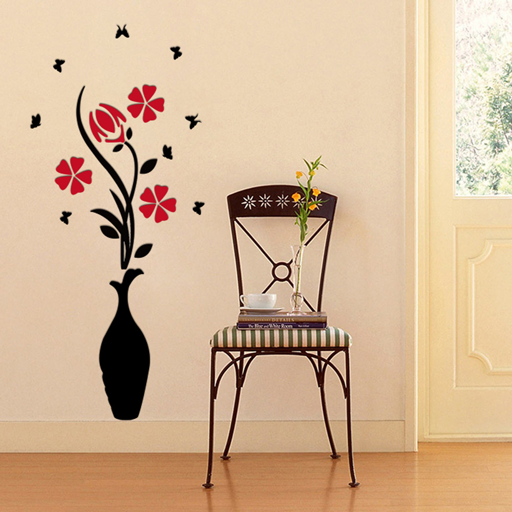DIY vase flower tree crystal arcylic 3D wall stickers decal font b home b font decor
