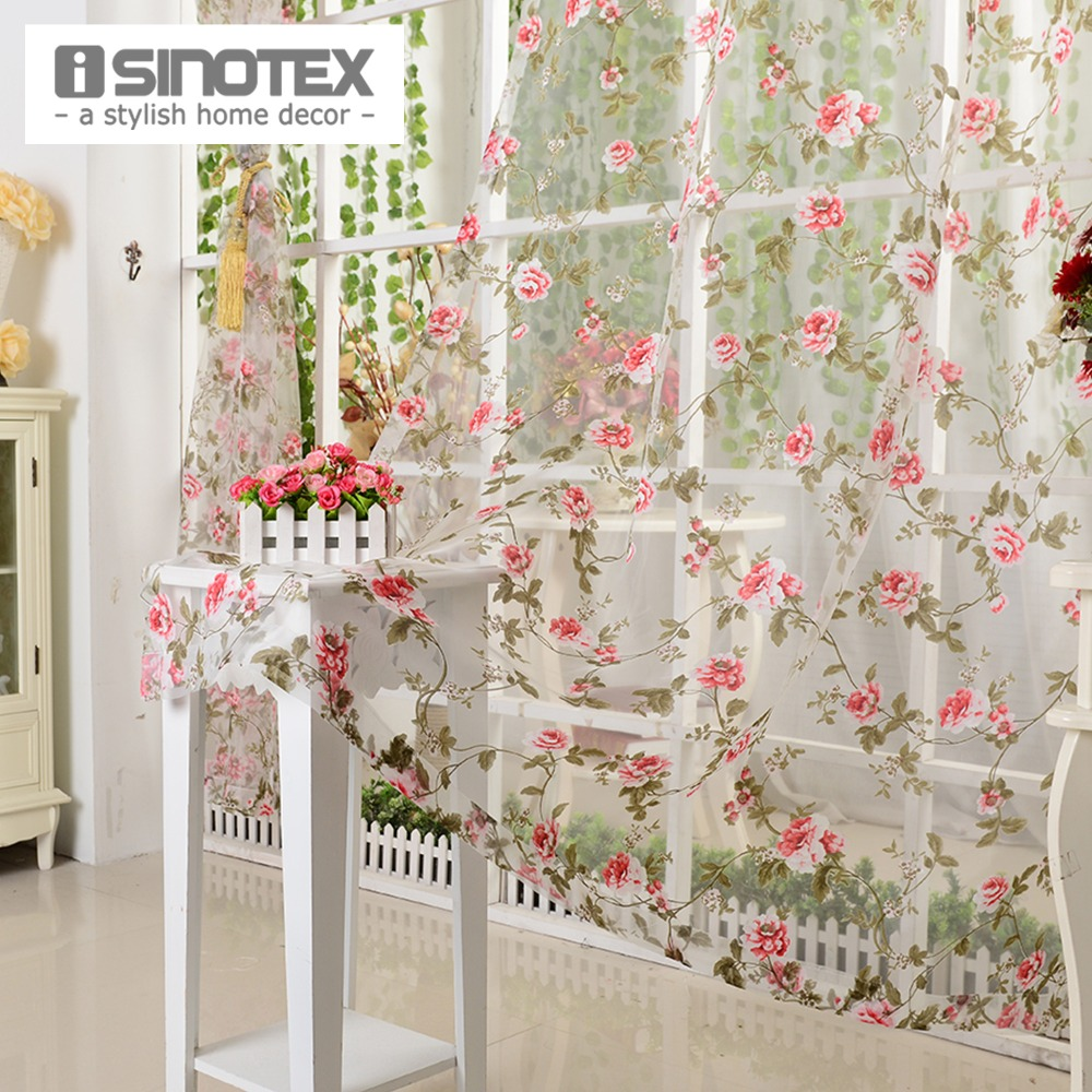 iSINOTEX Window Curtain Voile Fabric Red Floral Transparent ...