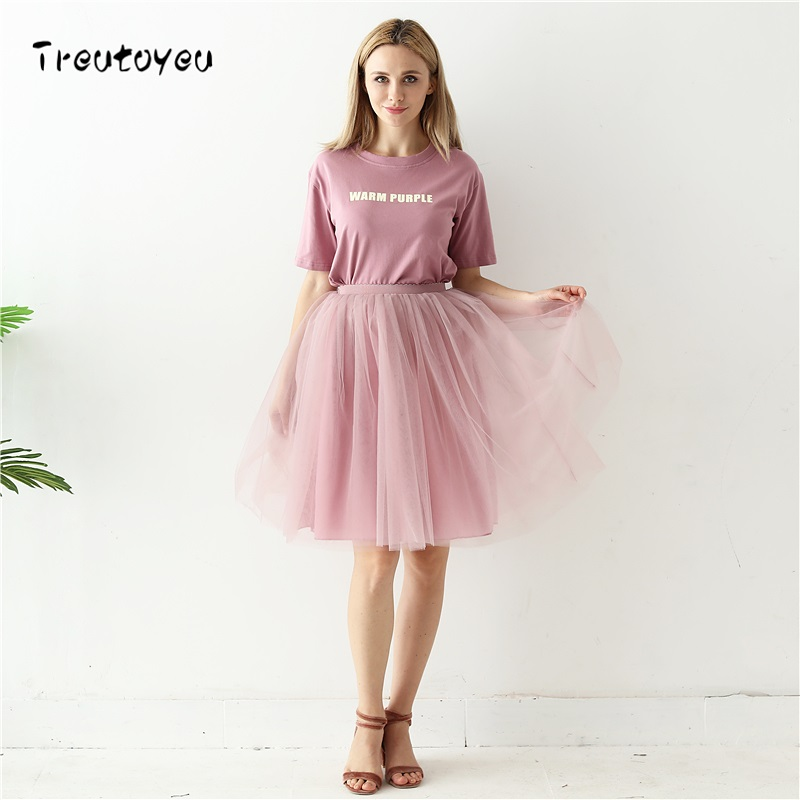 Quality 5 Layers 60cm Fashion Tulle Skirt Pleated TUTU Skirts Womens Lolita Petticoat Bridesmaids Midi Skirt Jupe Saias faldas