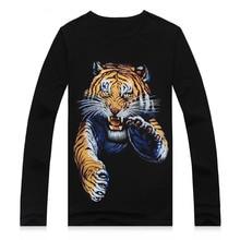 2016 Newest Animal Tiger wolf printed creative Long sleeve t shirt 3d men s tshirt summer