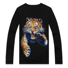 2016 Newest Animal Tiger wolf  printed creative Long sleeve t shirt 3d men's tshirt summer novelty 3D Fashion tee shirts clothes