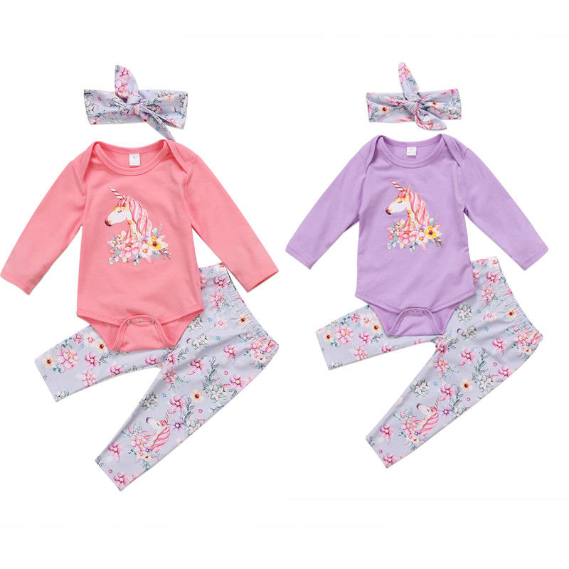 3pcs set newborn baby girls unicorn clothes princess