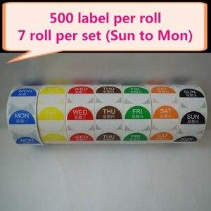 Image 5 - Étiquettes autocollantes amovibles, amovibles, 1x1 pouce, rouleau de 500, jour de la semaine (du lundi au dimanche), 7 rouleaux/ensemble