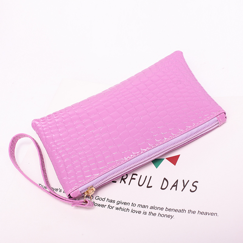 2018 new women's zipper purse soft leather crocodile pattern student thin mobile phone bag ljj 0708