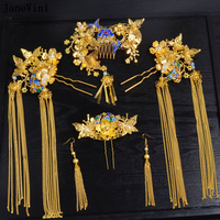 JaneVini Vintage Chinese Ancient Wedding Bridal Hair Pins Gold Long Tassel Headdress Brides Hairpins Jewelry Hair Accessories