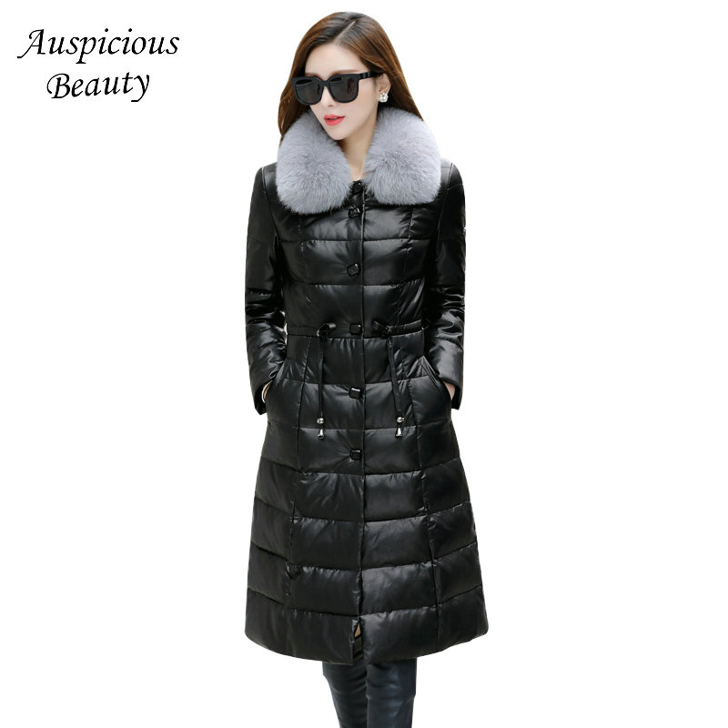2017 New Arrival Women Winter Genuine Leather Jacket Female High Quality Fox Fur Collar Down Coats Womens Jacket CXM363