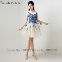 In Stock A Line Scalloped Appliques Tulle Sexy Prom Dresses 2014 New Arrival Real Sample Elegant