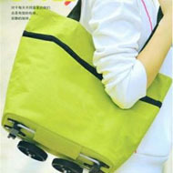 1PCS Portable Shopping Bag For Women Green Dot Flower Orange Dot Reusable Handbags Supermarket Cart Trolley