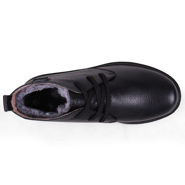 2017 Big Size 45 Winter Men Genuine Leather Boots Brand Winter Men Genuine Leather Shoes Rubber Male Boots Black Snow Shoes