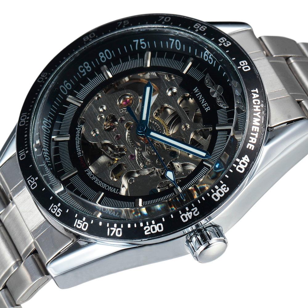Top Fashion Brand WINNER Stylish Dress Men Clock Automatic Mechanical Skeleton Watch Gift Male Steel Strap Military Wristwatches все цены