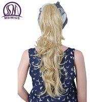 MSIWIGS Doğal Dalga Uzun Sarışın Ponytails Hairpieces Isıya Dayanıklı Sentetik Saç Uzantıları Pençe Klip Ponytails Kadınlar için