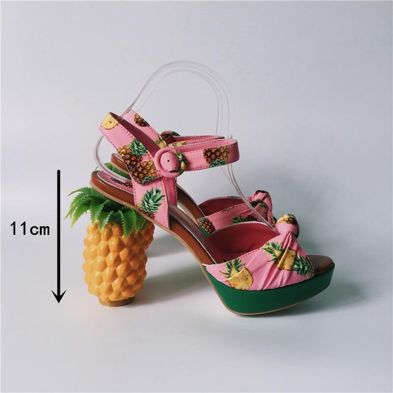 Sandales D'été Chaussure Bride Cheville Femmes Chunky La Rose Hauts À forme Sandalias Dames Stiletto Chaussures Plate Ananas Talons Femme zxPR4nP