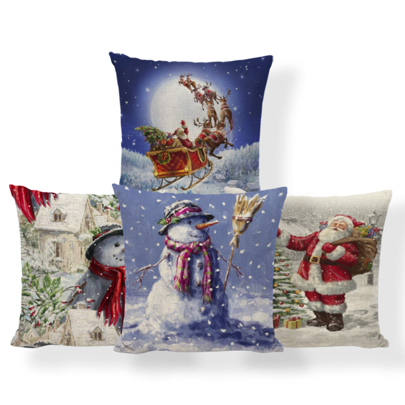 Festival Santa Claus Cushion Covers Merry Christmas Pillowcase European Bed Baby Birth Gifts Deer Snowman Toss Pillow 43Cm Linen