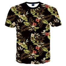 New 2017 Fashion Tee Shirt Men/Women 3d T-shirt Summer Tops Print Green Leaves Flowers Short Sleeve Tees Tshirts Plus S-6XL R184
