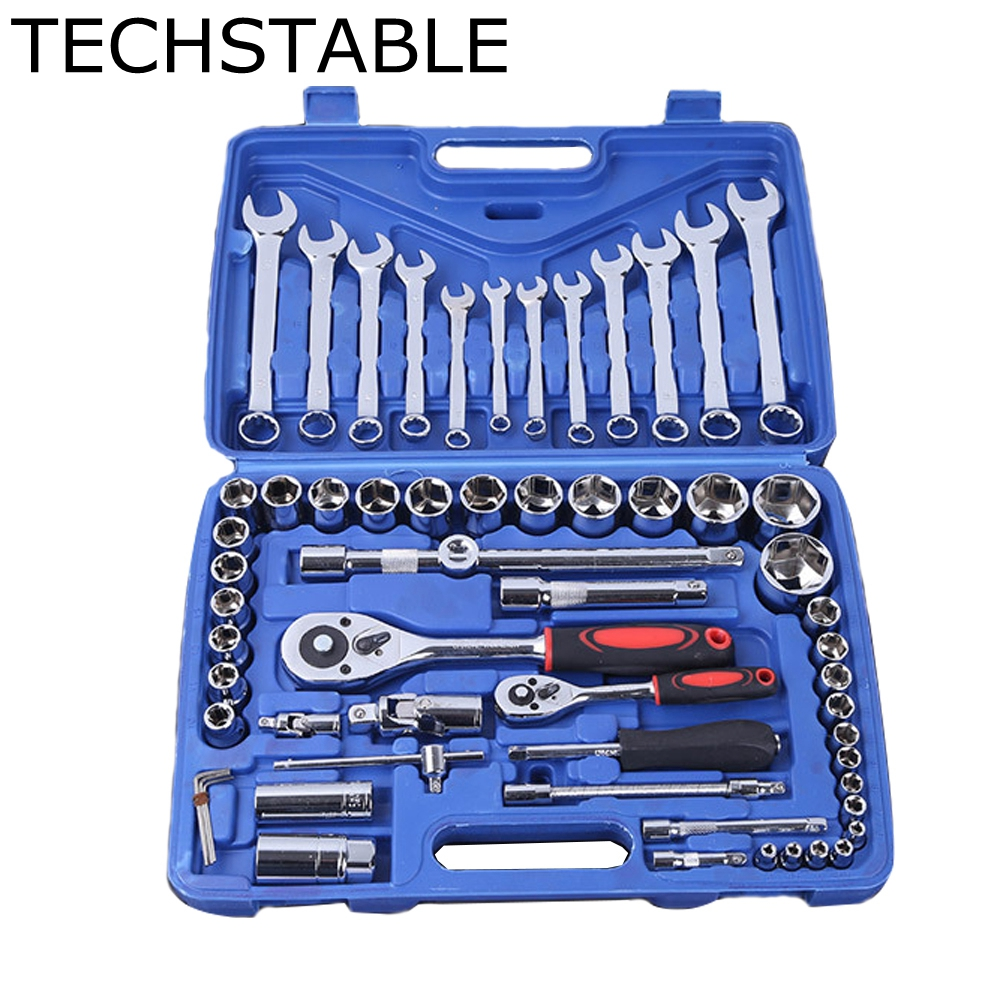 TECHSTABLE 61pcs socket set spanner Combination Tool Auto Set Wrench Manual Repair Tool hand tool