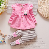 1 2 3 4 Years Cute Baby Girl Clothes Sets For Children Autumn Long Sleeve Rabbit