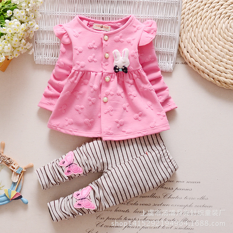 1 2 3 4 Years Cute Baby Girl Clothes Sets For Children Autumn Long Sleeve Rabbit Jacket+Striped Pants Toddler Girls Baby Suit fashion brand autumn children girl clothes toddler girl clothing sets cute cat long sleeve tshirt and overalls kid girl clothes