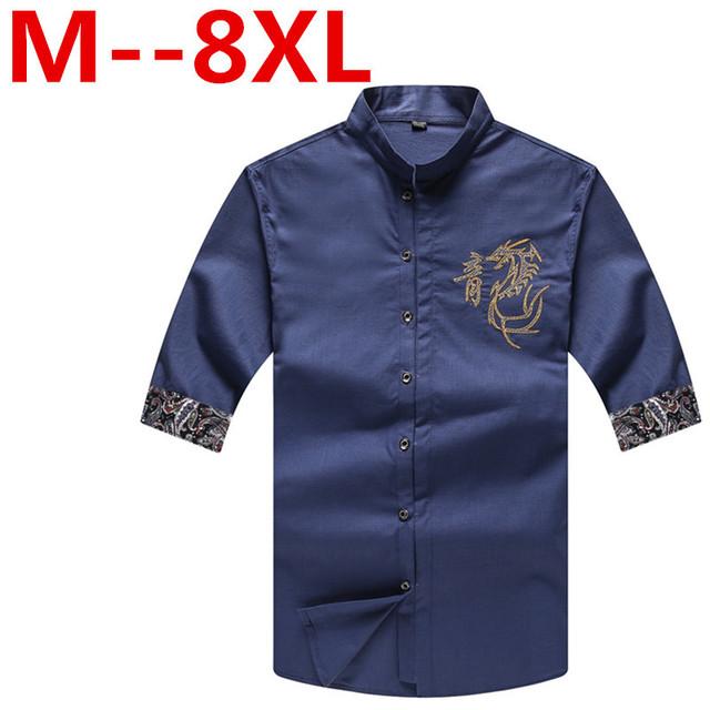 Plus large gran tamaño 9xl 8XL 7XL 6XL 5XL 4XL diseño dragón chino dianmond montaje hombres camisa casual hombres de manga corta de seda