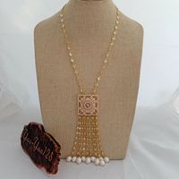N022948 21'' White Rice Pearl Yellow Golden Plated Chain Necklace