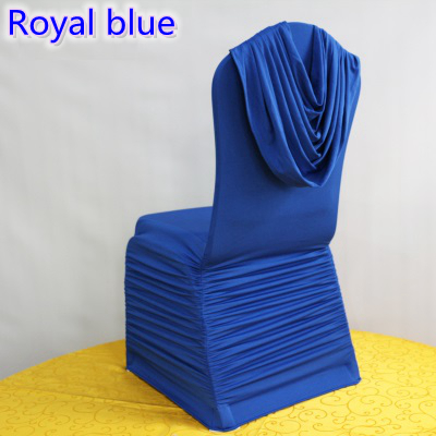 royal blue chair covers reclining movie theater colour universal lycra ruffled top cover spandex pleated luxury wedding decoration wholesale in from home garden