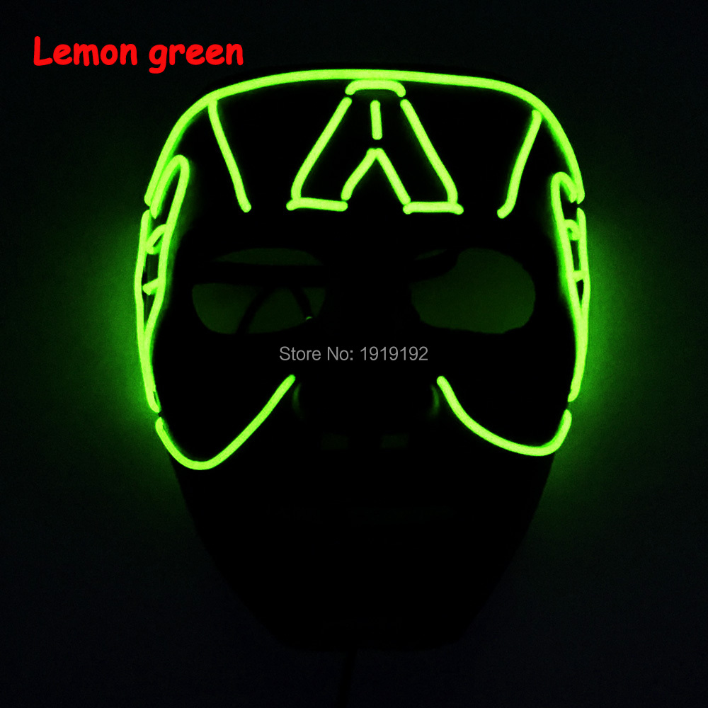 Wholesale EL wire flashing mask Energy Saving 10 Color Available Glowing Mask with DC-3V Sound Activated For party Decoration