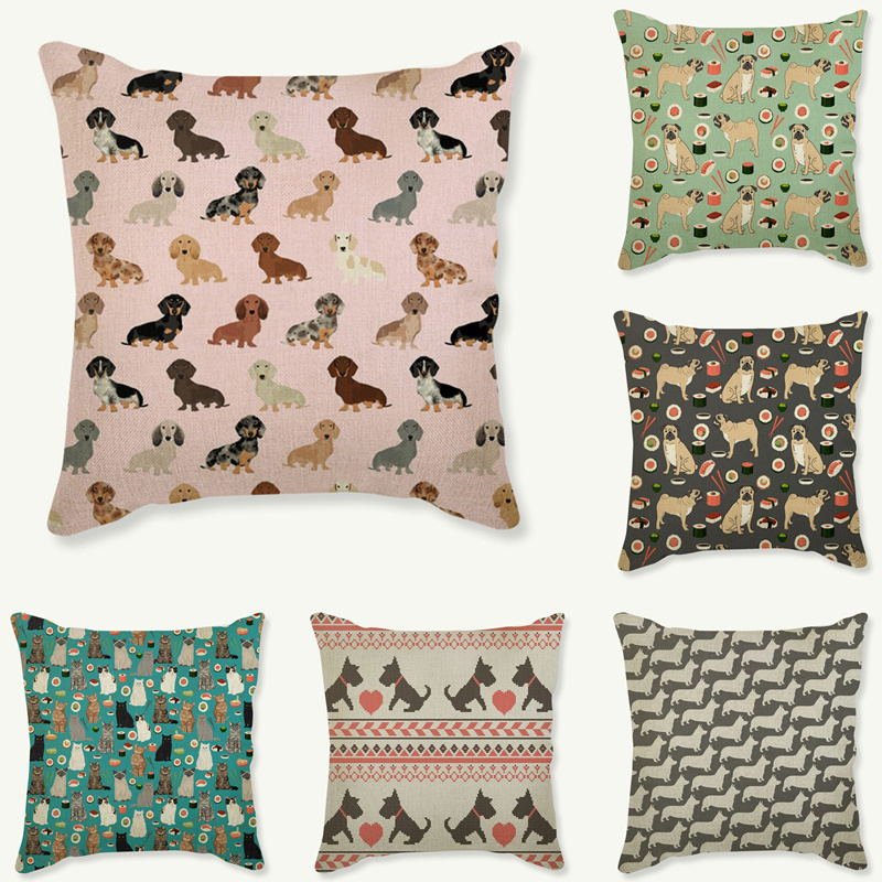 Lovely Animals Pet Dog Puppy Cat Pattern Cushion Cover For Sofa Home Decor Almofadas 18 inch Decorative Throw Pillows Case