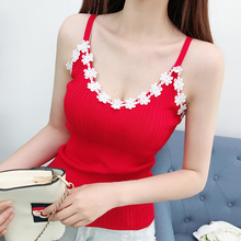 Summer Women Sweet Knitting Halter Neck Cropped Camisole Tops Tees Female Bodycon Knitted Tank Tops Sleeveless Basic T shirts rose bateau bodycon hem basic t shirts